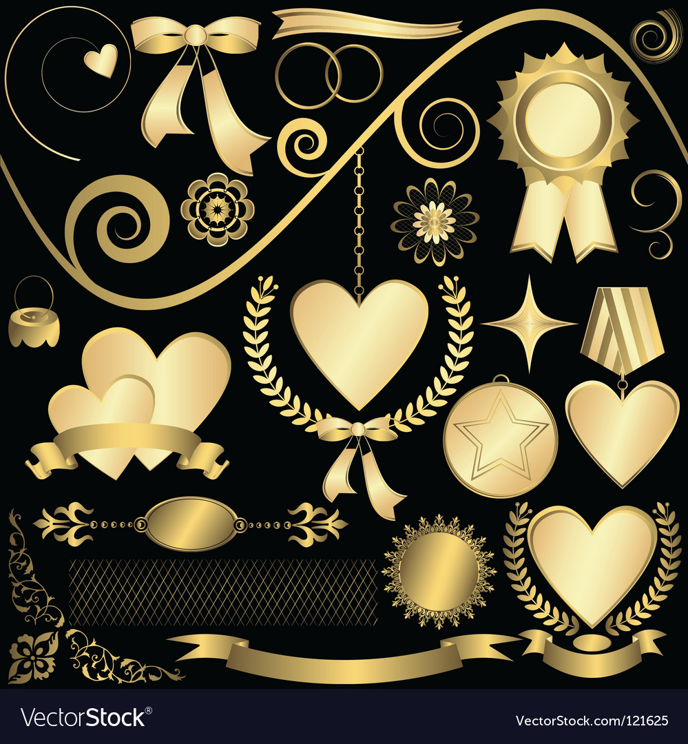 Golden design elements vector | Price: 1 Credit (USD $1)