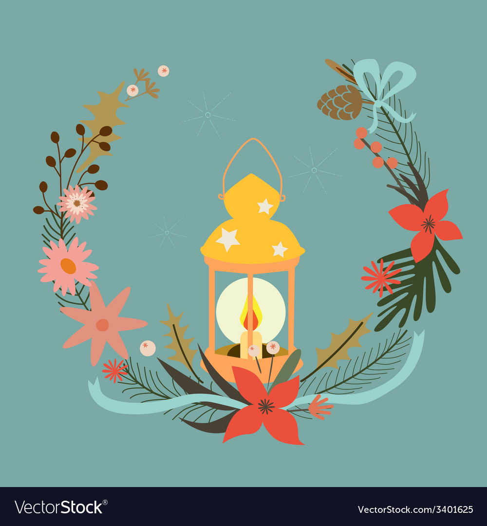 Holiday composition with candle vector | Price: 1 Credit (USD $1)