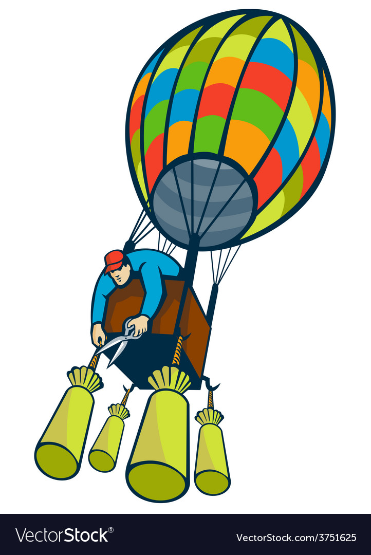 Man cutting ballast hot air balloon vector | Price: 1 Credit (USD $1)