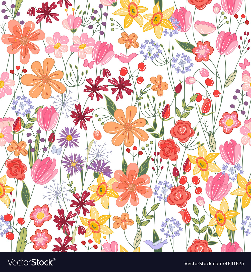 Seamless pattern with contour summer flowers vector | Price: 1 Credit (USD $1)