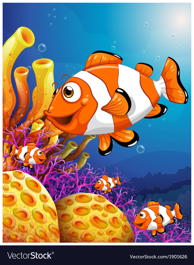 A school of fish near the beautiful coral reefs vector | Price: 3 Credit (USD $3)