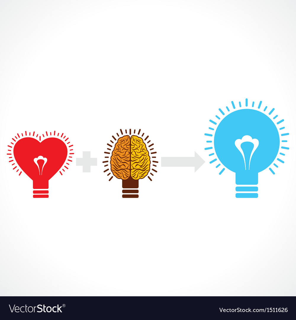 Addition of heart and brain create new idea vector | Price: 1 Credit (USD $1)