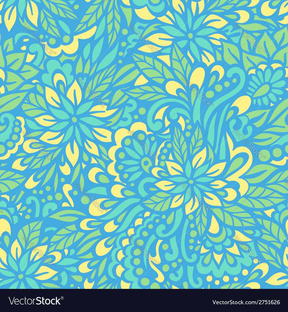 Blue flowers seamless decorative pattern vector | Price: 1 Credit (USD $1)