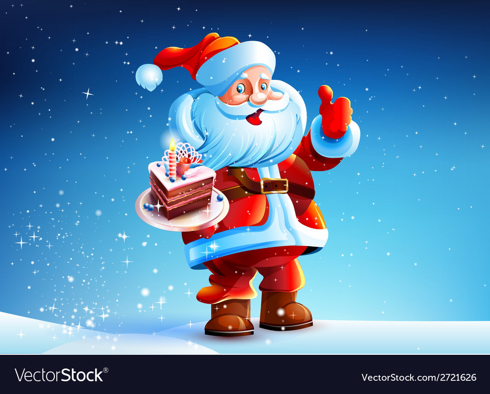 Cake in the hands of santa claus vector | Price: 3 Credit (USD $3)