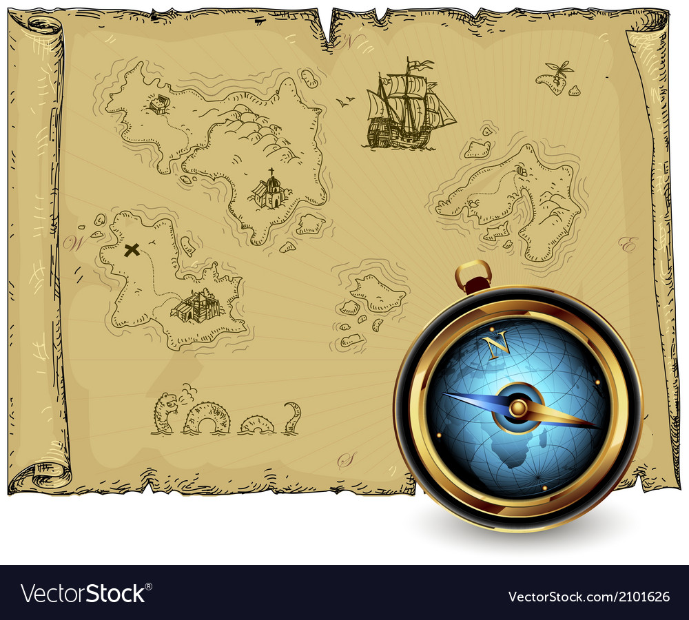 Compass with ancient map vector | Price: 1 Credit (USD $1)
