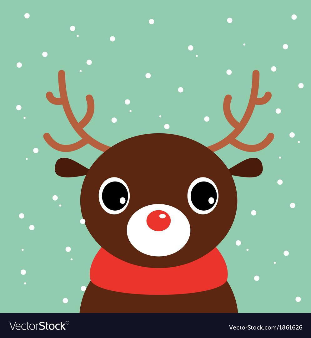 Cute cartoon christmas deer on snowing background vector | Price: 1 Credit (USD $1)