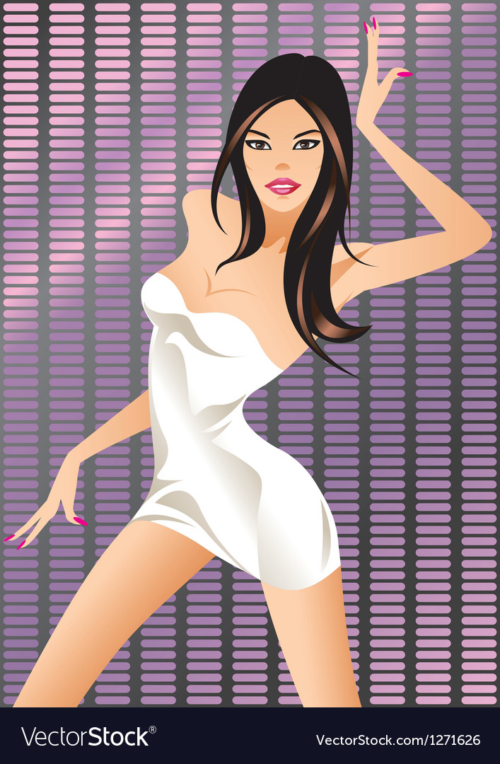 Dancing girl on the light display vector | Price: 3 Credit (USD $3)