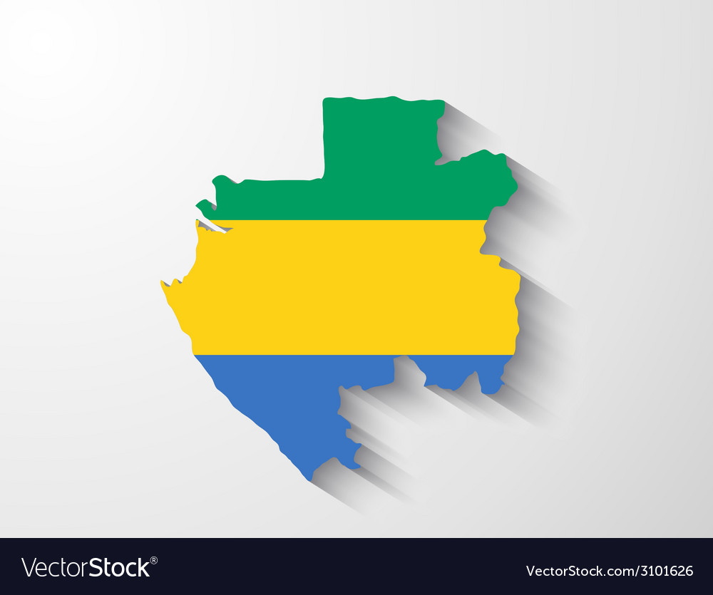 Gabon map with shadow effect vector | Price: 1 Credit (USD $1)
