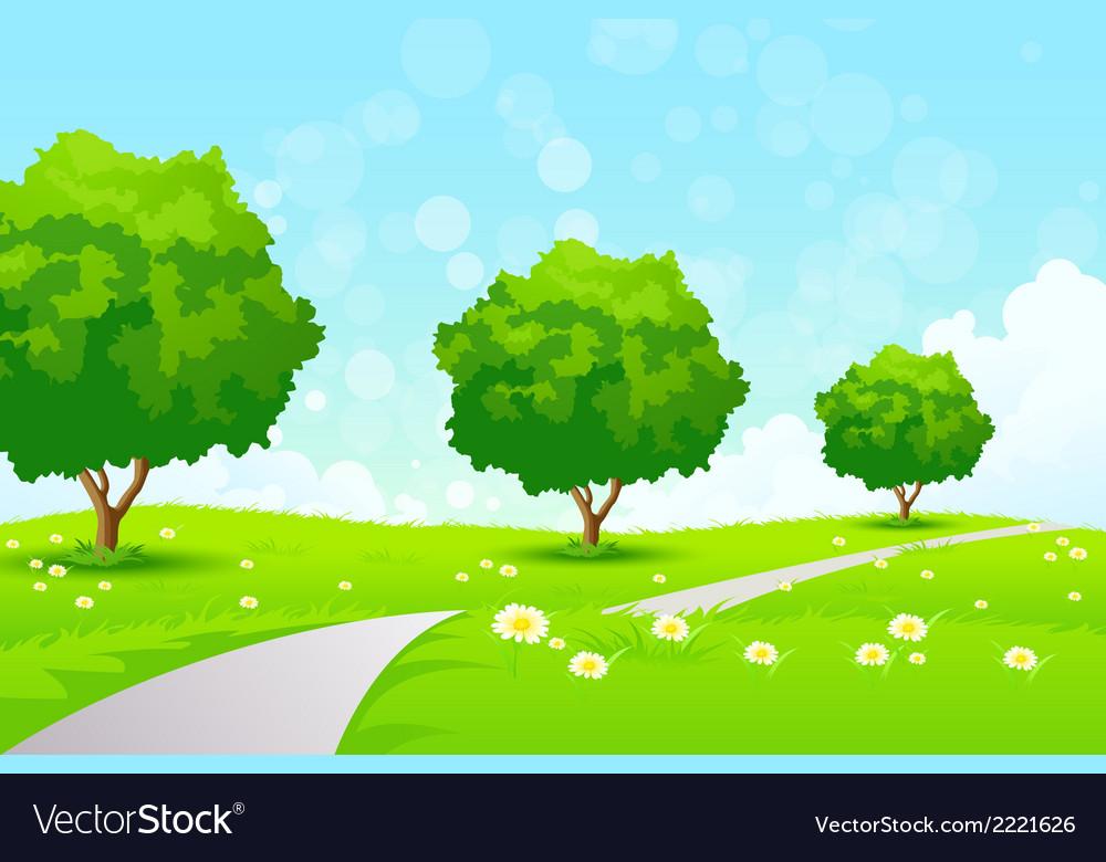 Green landscape vector | Price: 1 Credit (USD $1)