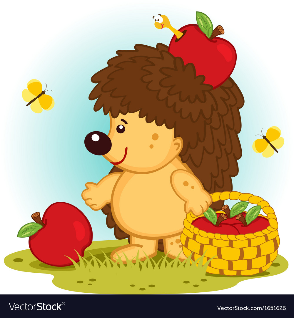 Hedgehog with basket of apples vector | Price: 3 Credit (USD $3)