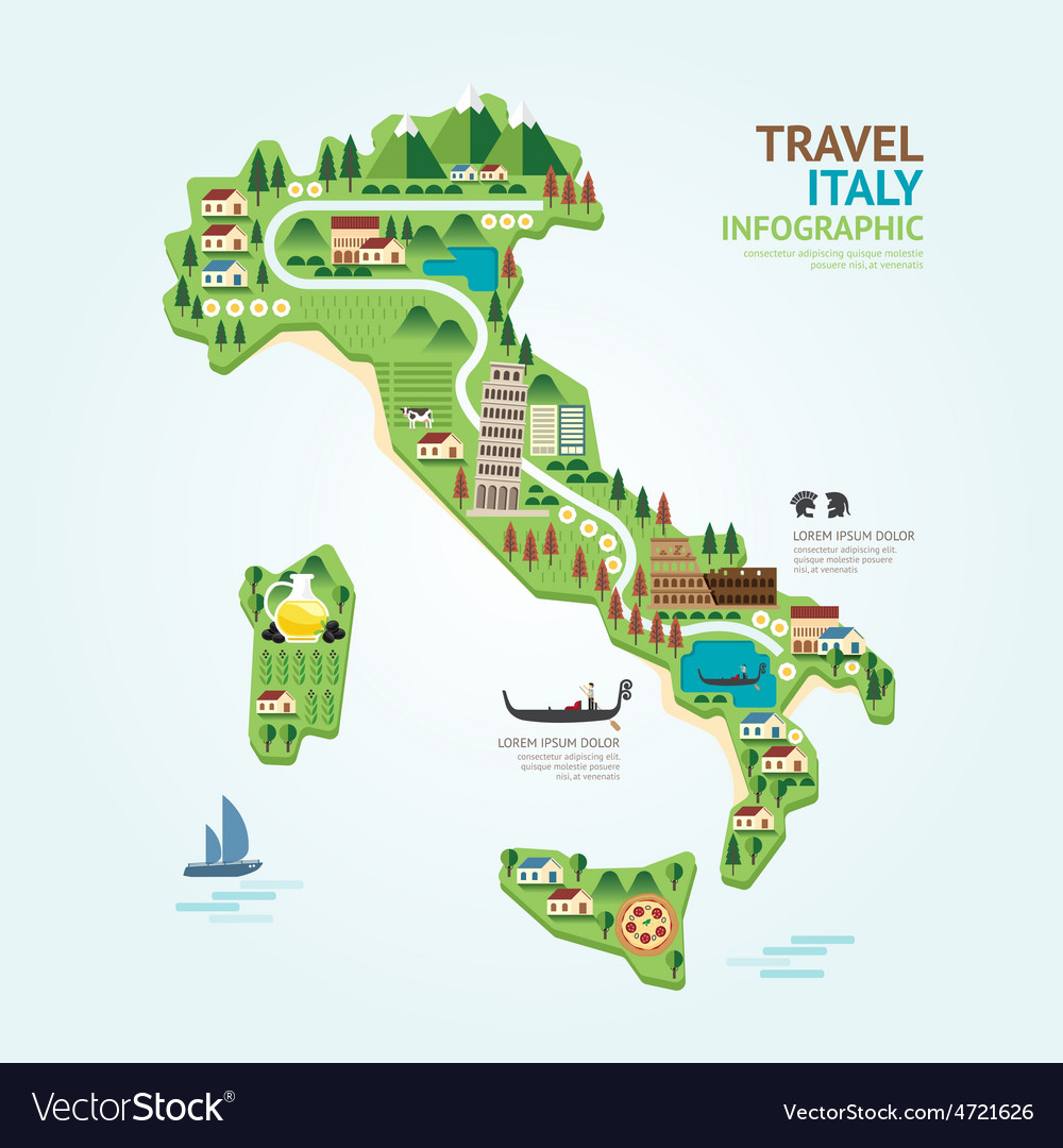 Infographic travel and landmark italy map shape vector | Price: 3 Credit (USD $3)