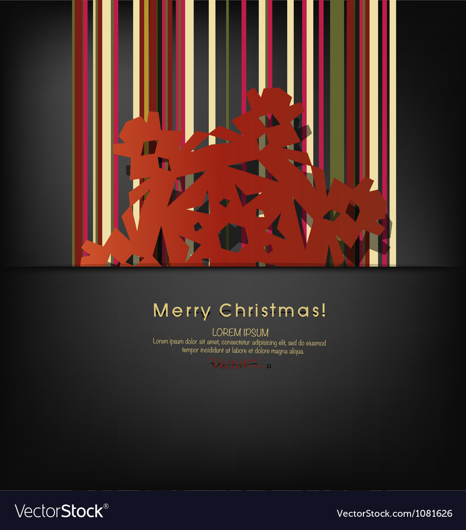 Merry christmas postcard with origami snowflake vector | Price: 1 Credit (USD $1)