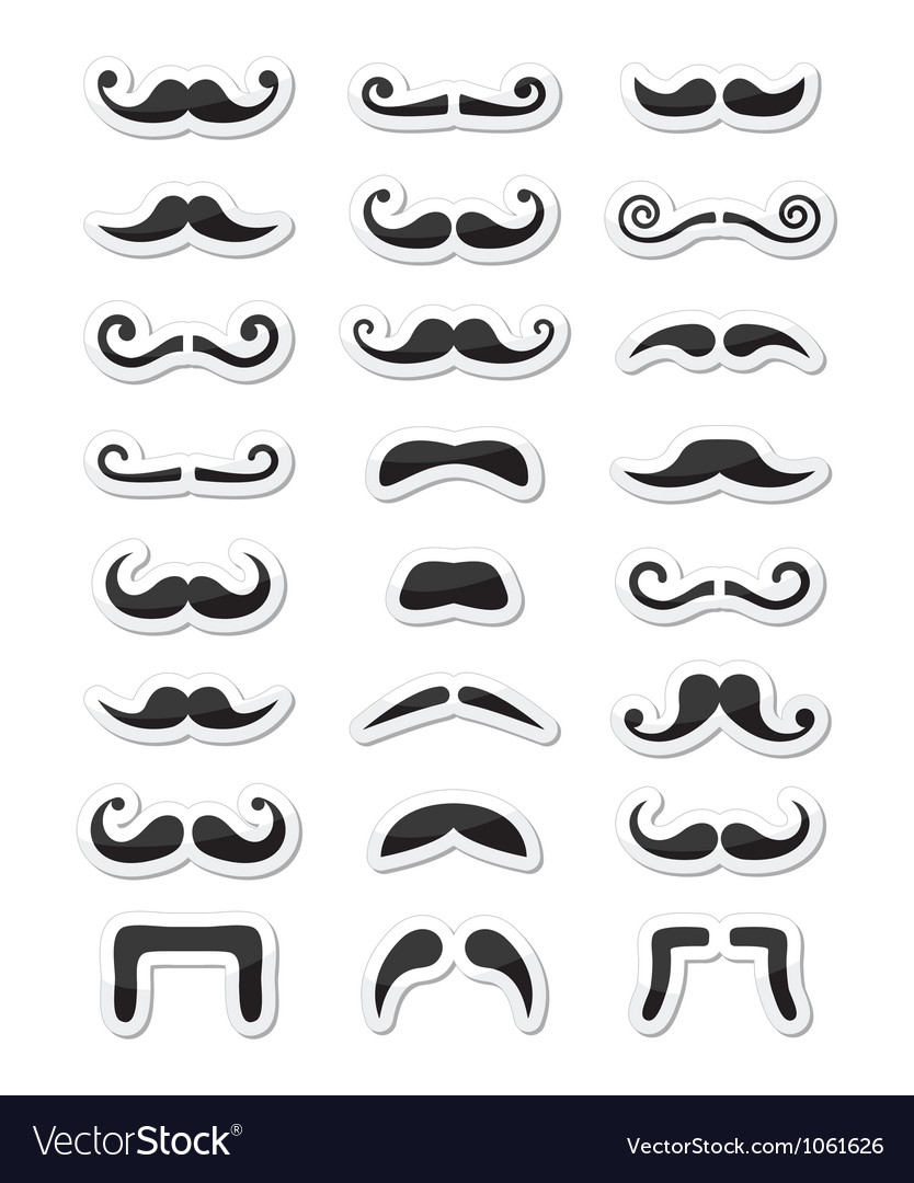 Moustache or mustache icons isolated set as labels vector | Price: 1 Credit (USD $1)