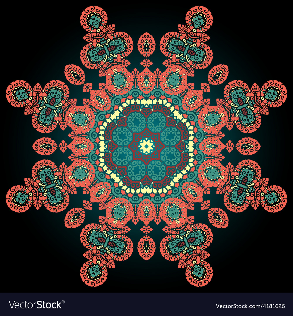 Red coloured ornamental mandala on black vector | Price: 1 Credit (USD $1)