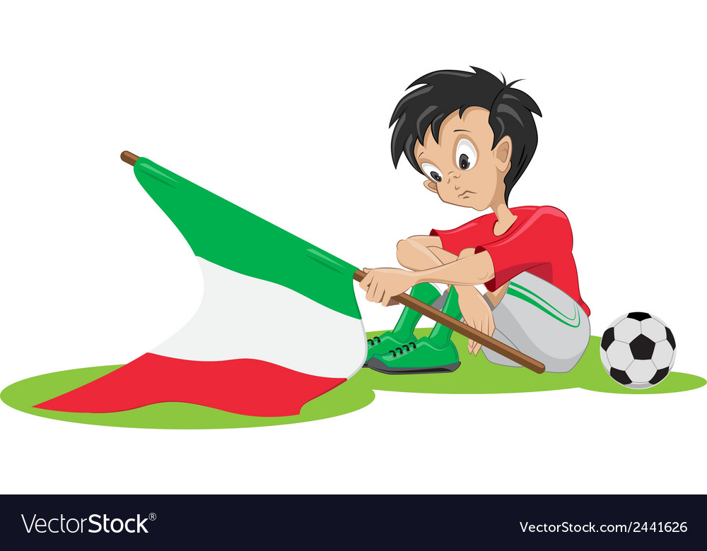 Sad italy soccer fan vector | Price: 1 Credit (USD $1)