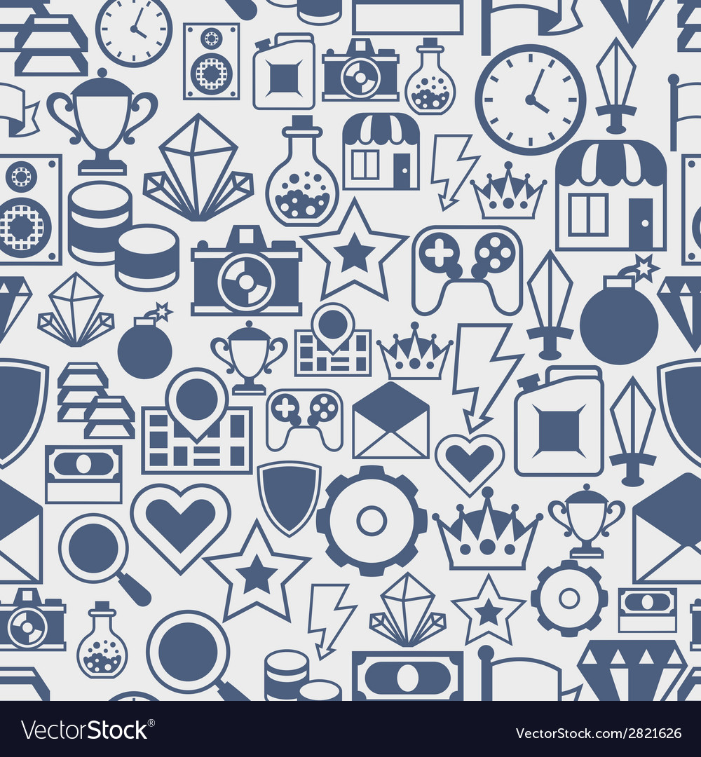 Seamless pattern with game icons in flat design vector | Price: 1 Credit (USD $1)