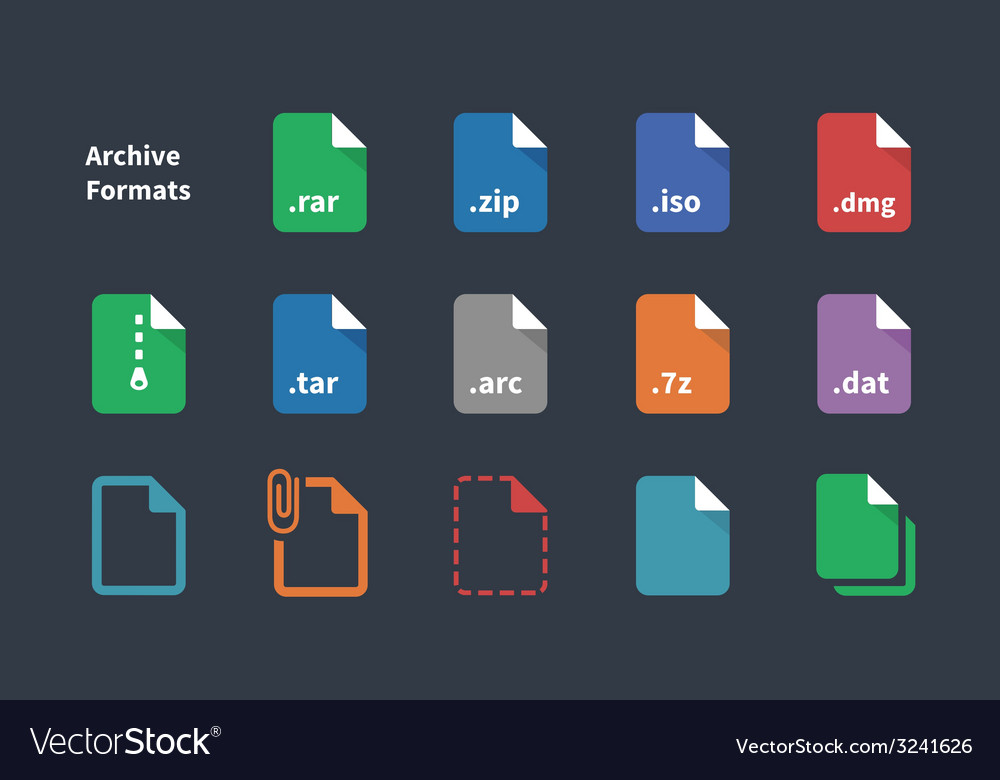 Set of archive file formats icons vector | Price: 1 Credit (USD $1)