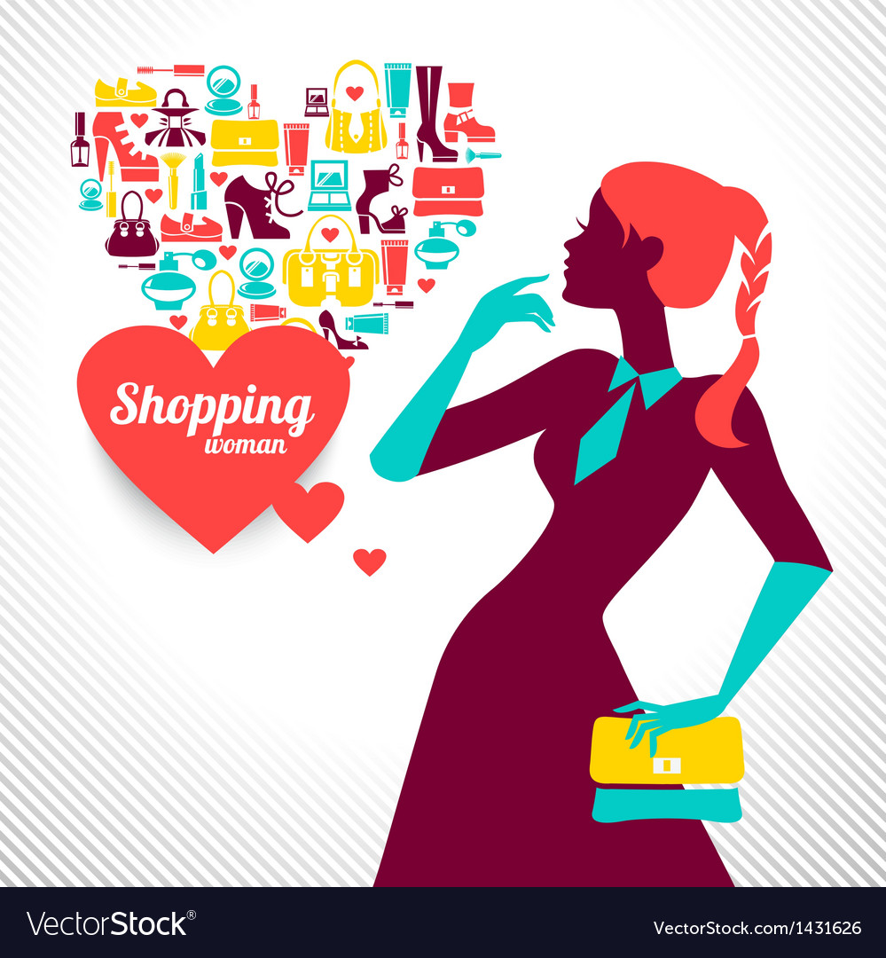Shopping woman silhouette vector | Price: 1 Credit (USD $1)