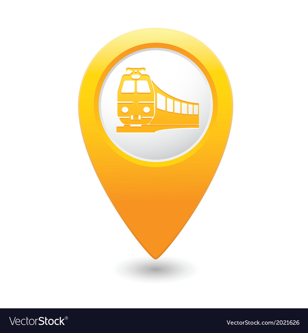 Train icon on map pointer yellow vector | Price: 1 Credit (USD $1)