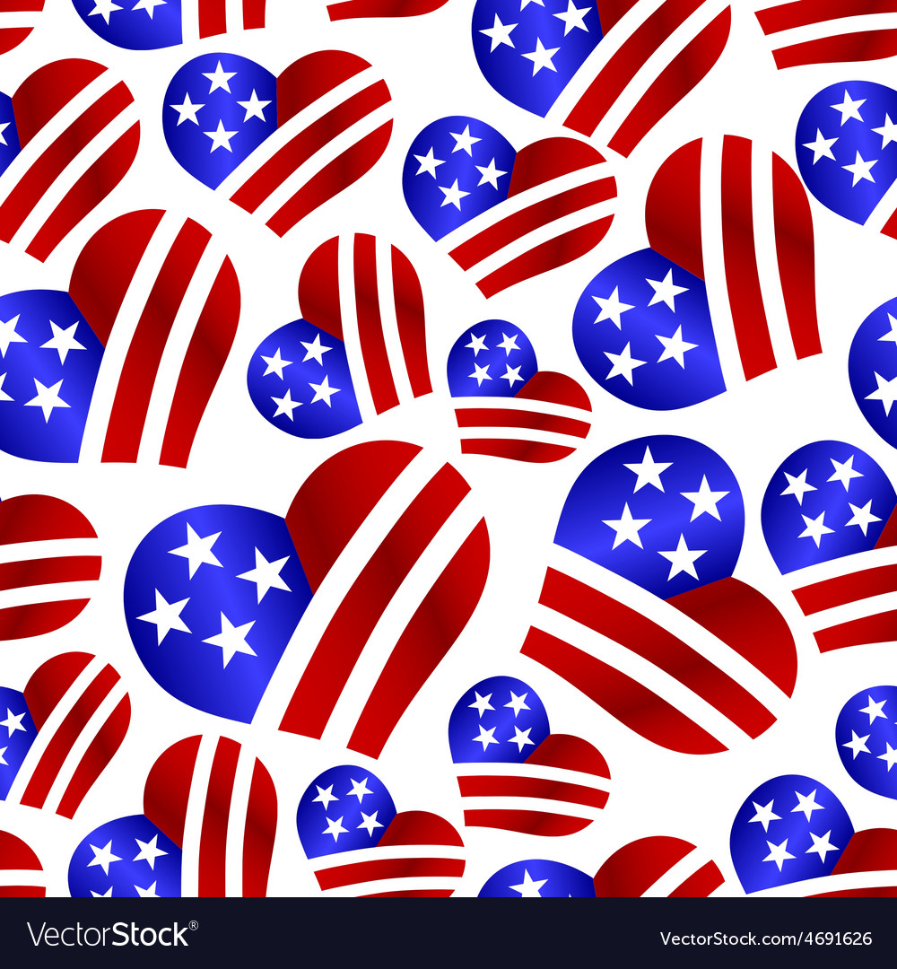 Usa colors hearth shape celebration seamless vector | Price: 1 Credit (USD $1)