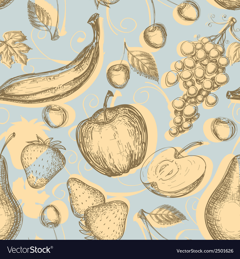 Vintage fruits seamless pattern vector | Price: 1 Credit (USD $1)