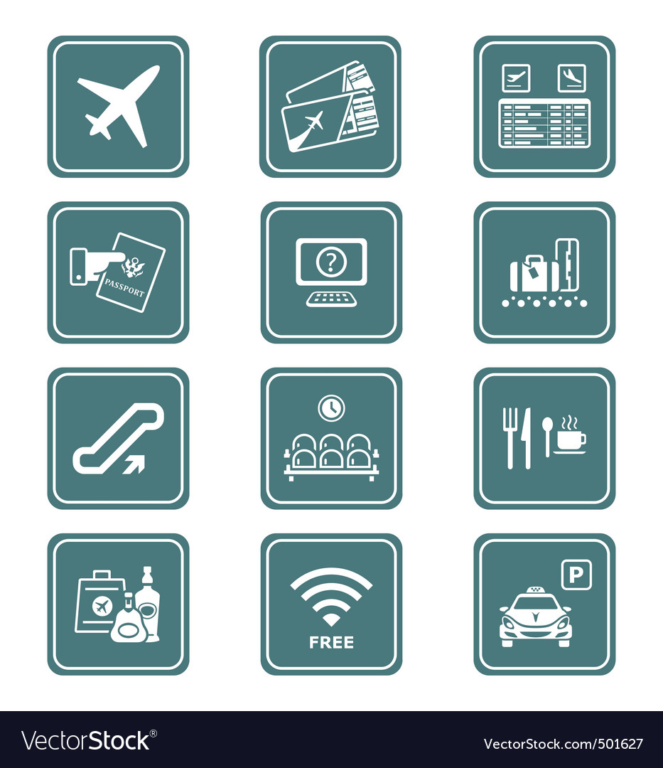 Airport icons | teal series vector | Price: 1 Credit (USD $1)