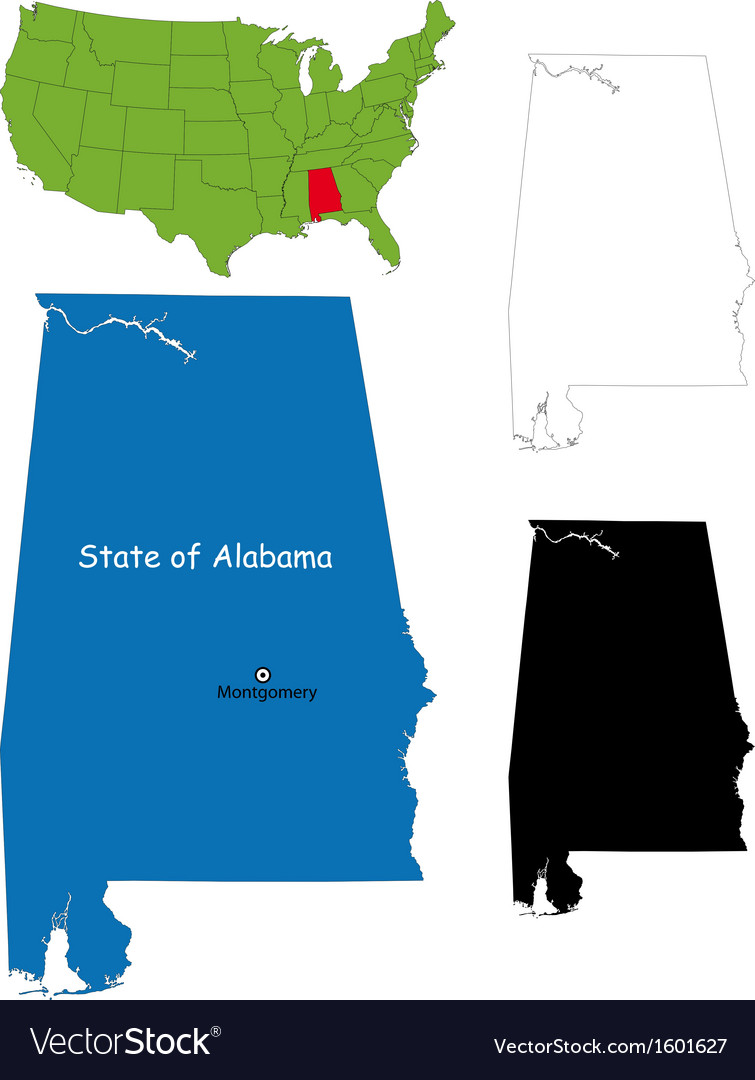 Alabama map vector | Price: 1 Credit (USD $1)