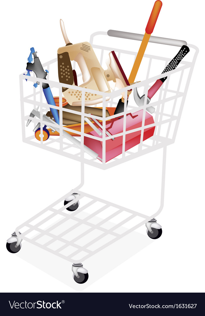 Auto repair tool kits in shopping cart vector | Price: 1 Credit (USD $1)