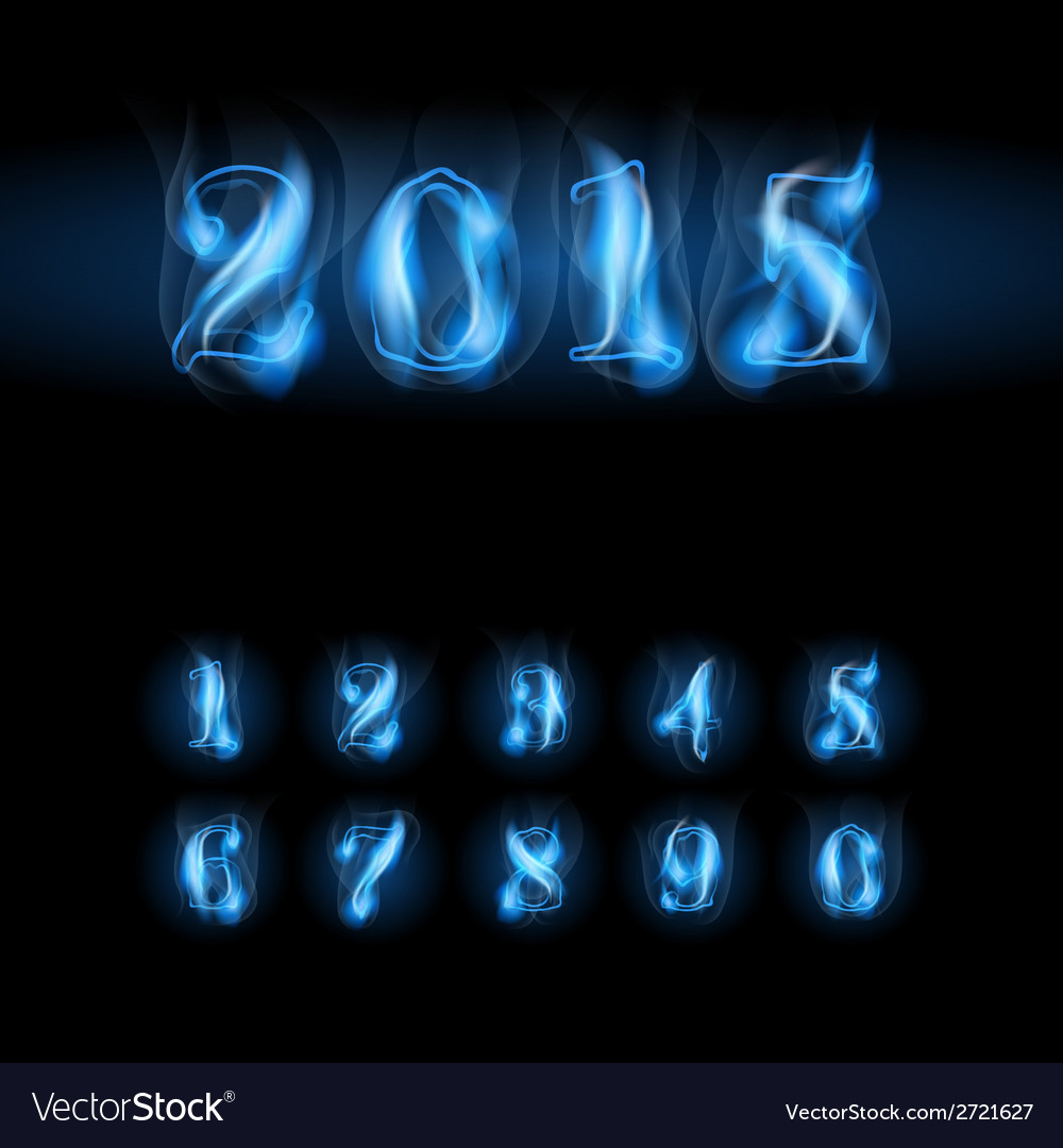 Blue fire numbers vector | Price: 1 Credit (USD $1)