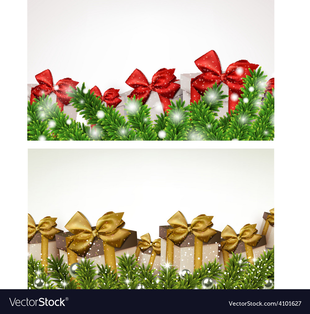 Christmas banners with fir branches gift boxes vector | Price: 1 Credit (USD $1)