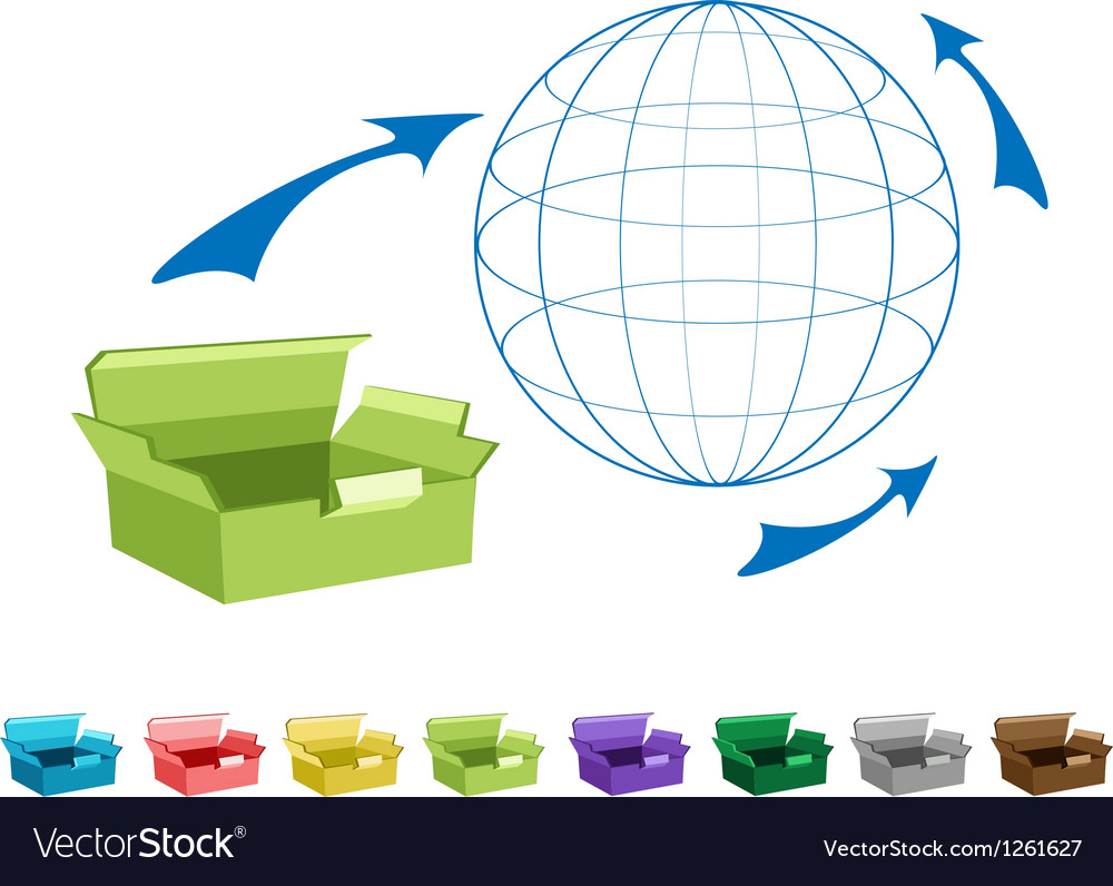 Empty cardboard boxes for freight transportation vector | Price: 1 Credit (USD $1)