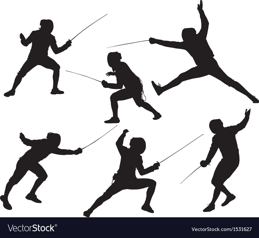 Fencing silhouette vector | Price: 1 Credit (USD $1)