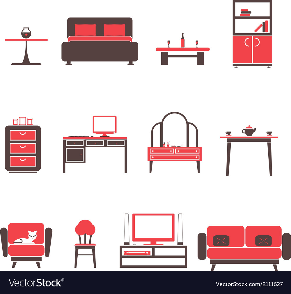 Flat furniture icons and symbols set for living vector | Price: 1 Credit (USD $1)