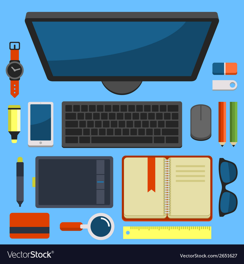 Office workplace top view in flat design vector   Price: 1 Credit (USD $1)