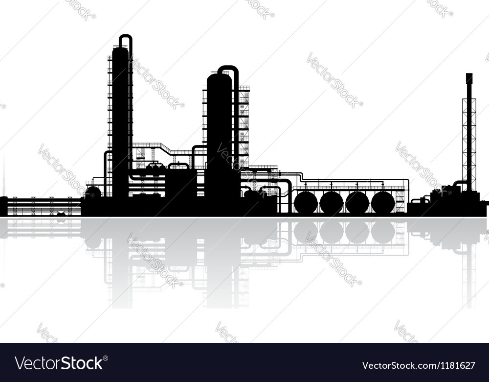 Oil refinery plant silhouette vector | Price: 1 Credit (USD $1)