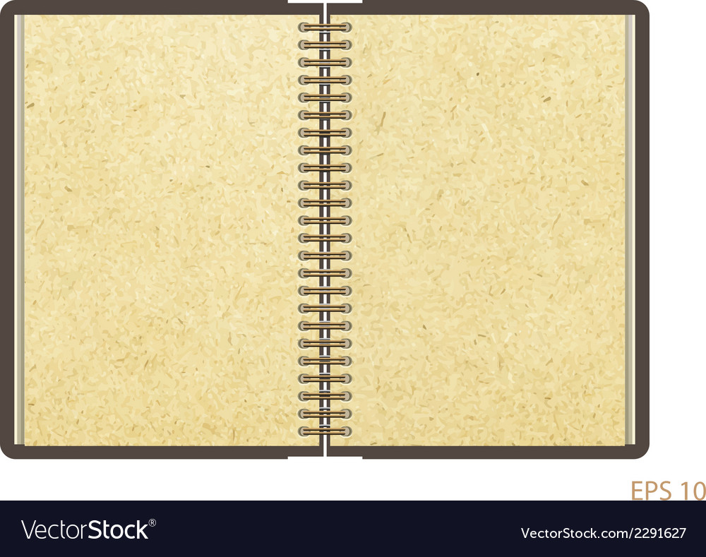 Open notebook with white page on wooden background vector | Price: 1 Credit (USD $1)