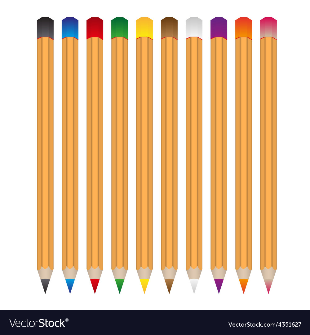 Set of various color wooden crayons eps10 vector | Price: 1 Credit (USD $1)