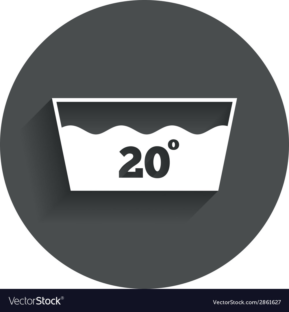Wash icon machine washable at 20 degrees symbol vector | Price: 1 Credit (USD $1)