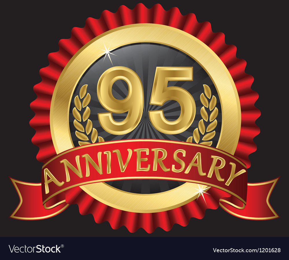 95 years anniversary golden label with ribbons vector | Price: 3 Credit (USD $3)