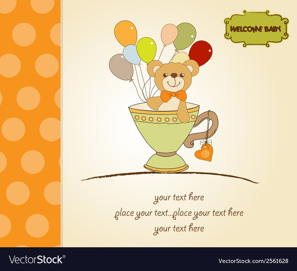 Baby shower card with cute teddy bear vector   Price: 1 Credit (USD $1)