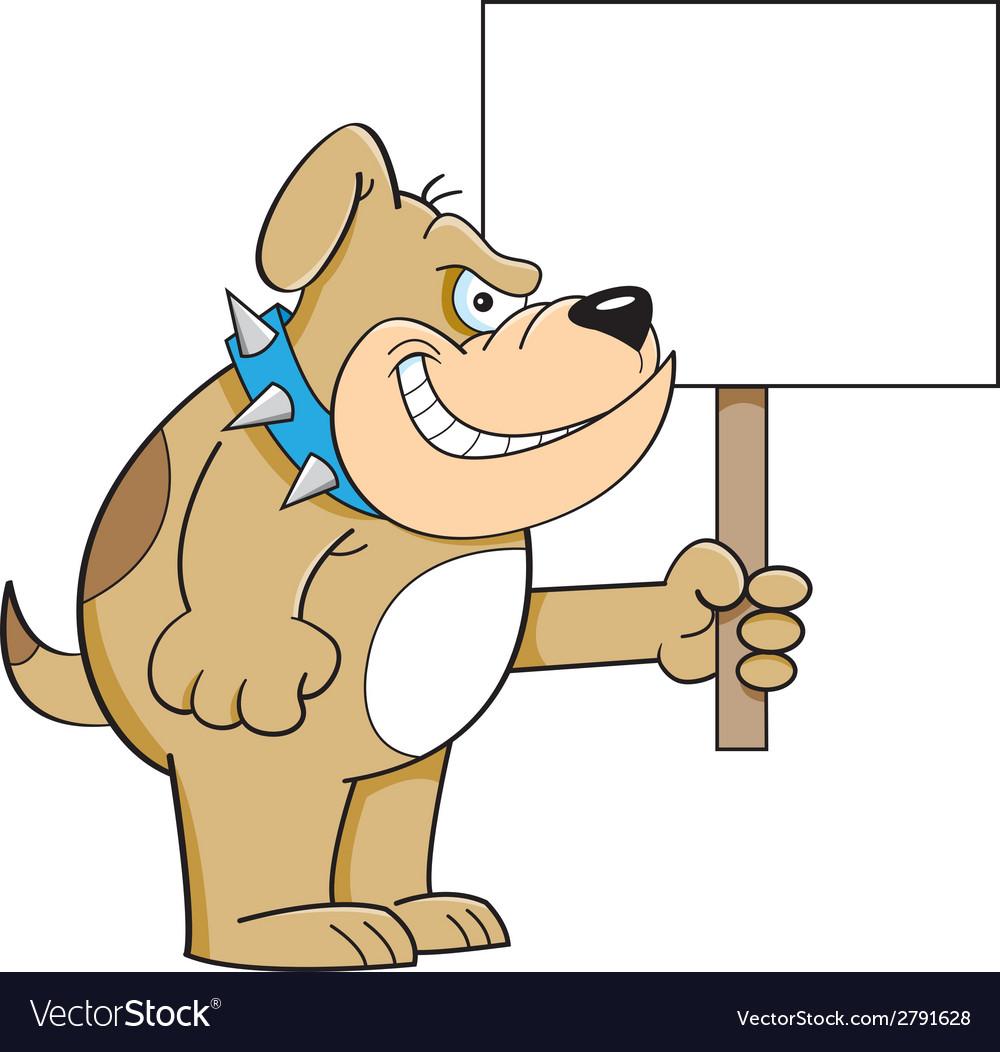 Cartoon bulldog holding a sign vector | Price: 1 Credit (USD $1)