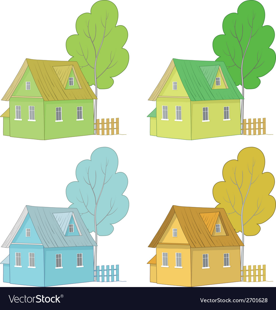 Cartoon colorful houses and trees vector | Price: 1 Credit (USD $1)