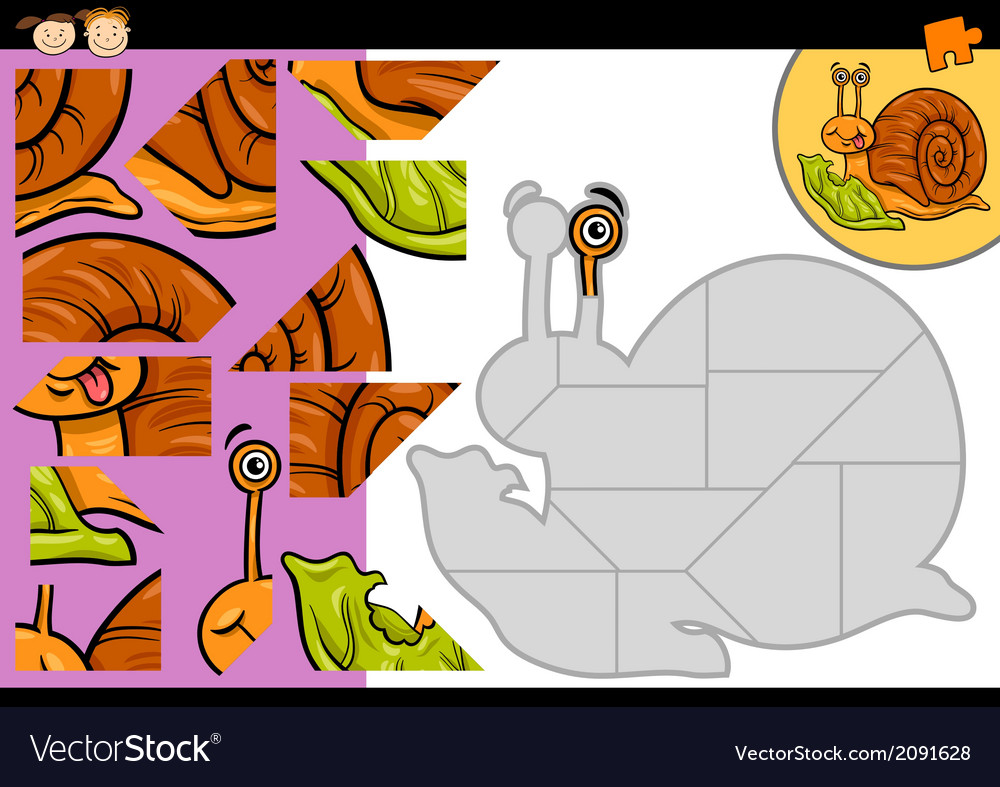 Cartoon snail jigsaw puzzle game vector | Price: 1 Credit (USD $1)