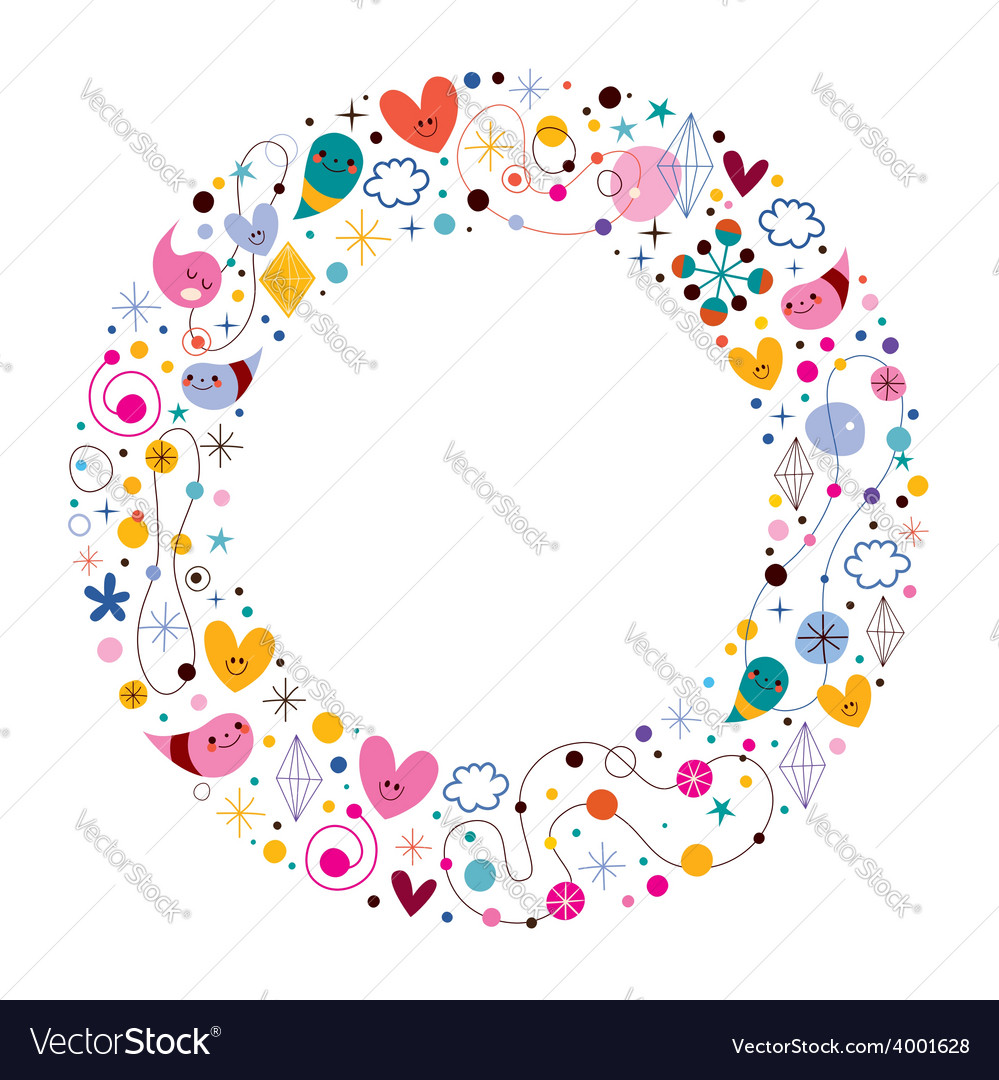 Celebration happy cartoon circle frame vector | Price: 1 Credit (USD $1)