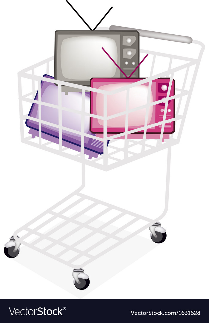 Colorful retro television in a shopping cart vector | Price: 1 Credit (USD $1)