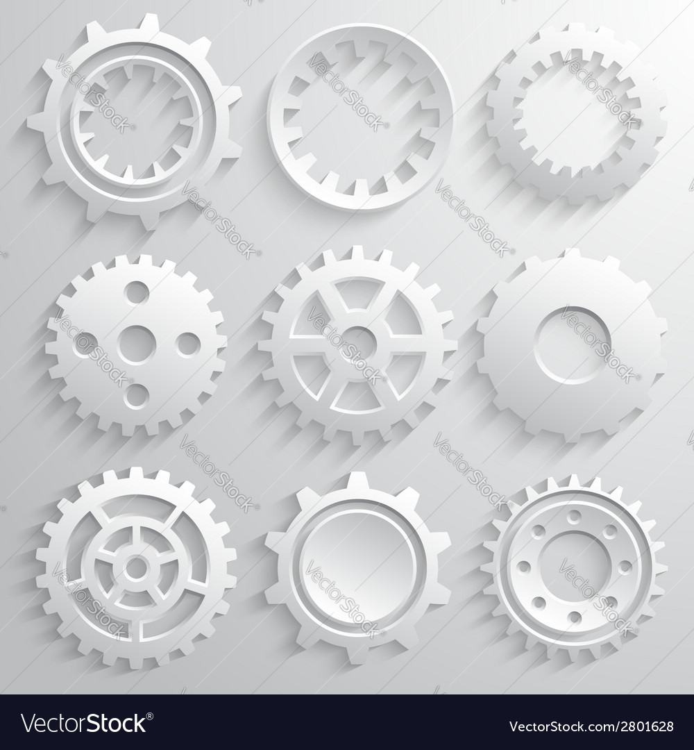 Gear wheels icon set nine 3d gears on a gray vector | Price: 1 Credit (USD $1)