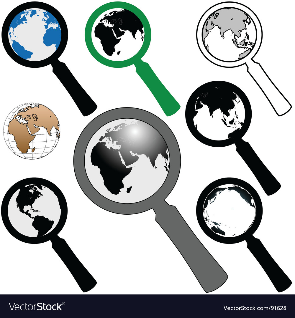 World magnifying glasses vector | Price: 1 Credit (USD $1)