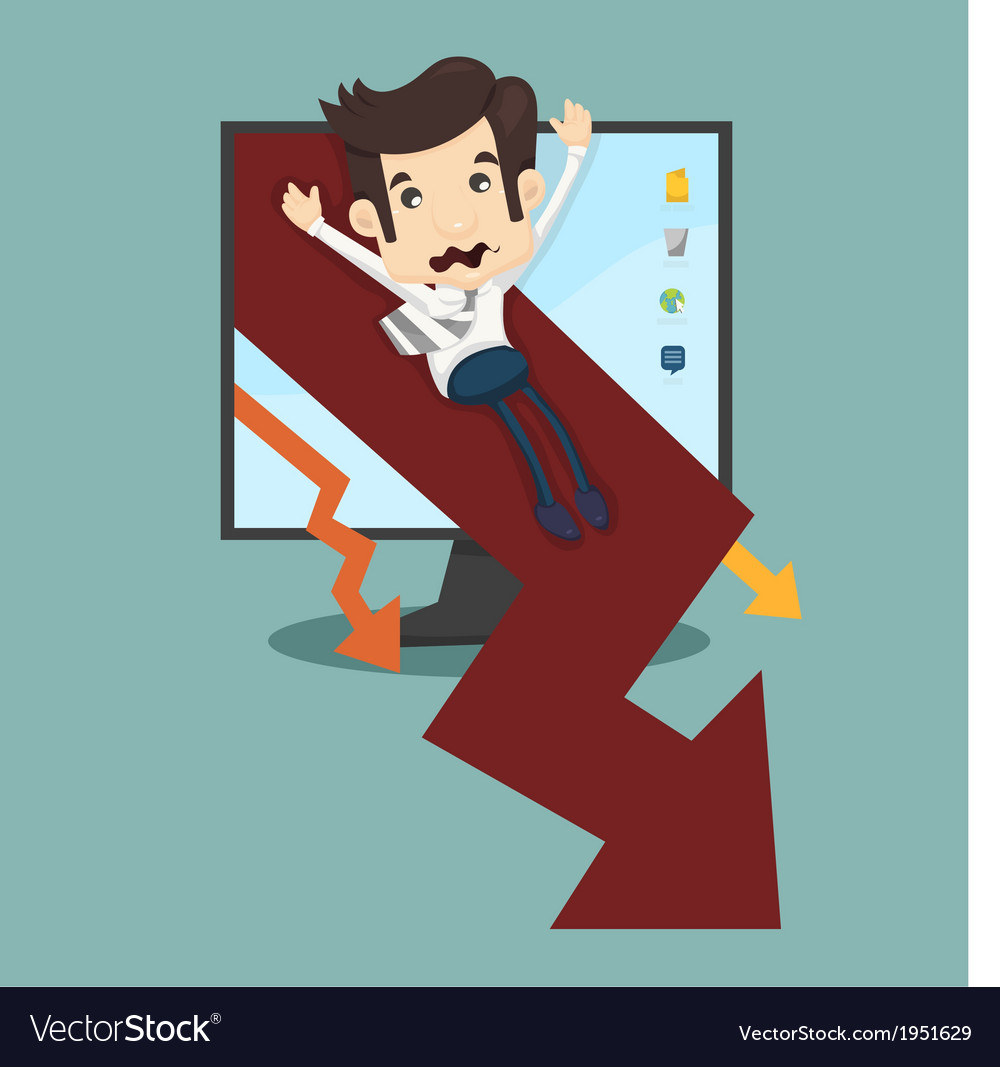 Businessman rising arrow down vector | Price: 1 Credit (USD $1)