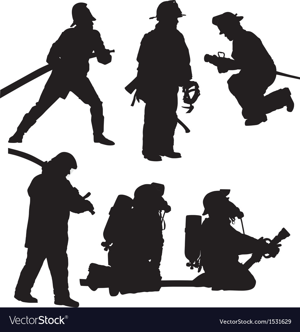 Firefighter silhouette vector | Price: 1 Credit (USD $1)