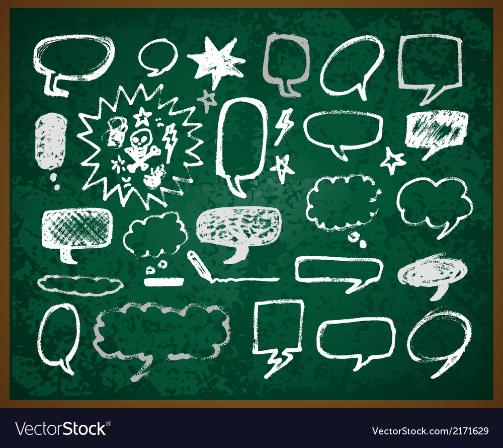 Hand-drawn doodles on green school board vector | Price: 1 Credit (USD $1)